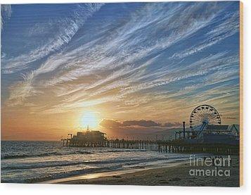 Santa Monica Pier Wood Print by Eddie Yerkish