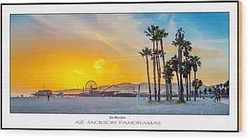 Santa Monica Sunset Poster Print Wood Print by Az Jackson
