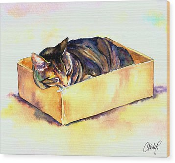 Sassy Sleeping Wood Print by Christy  Freeman
