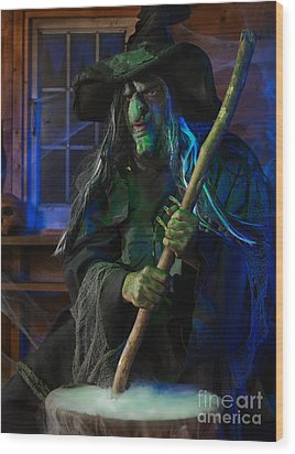 Scary Old Witch Wood Print by Oleksiy Maksymenko