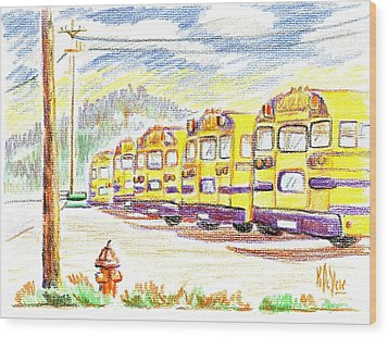 School Bussiness Wood Print by Kip DeVore