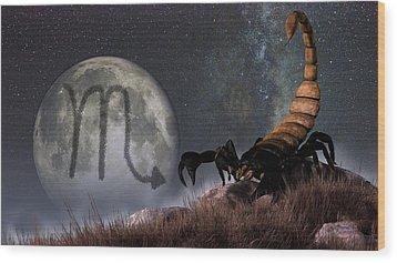 Scorpio Zodiac Symbol Wood Print by Daniel Eskridge