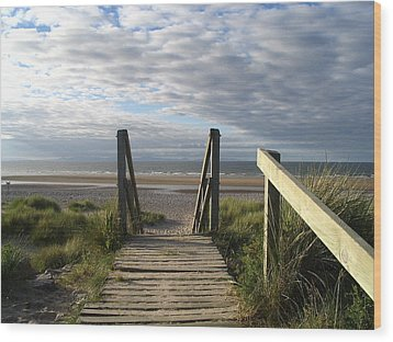 Scotland Findhorn Boardwalk Wood Print by Yvonne Ayoub