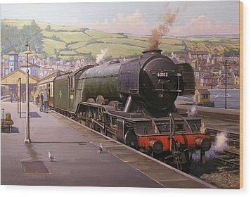 Scotsman At Kingswear Wood Print by Mike  Jeffries