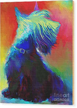 Scottish Terrier Dog Painting Wood Print by Svetlana Novikova