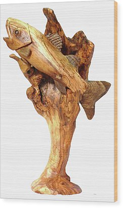 Sea Bass Sculpture Wood Print by Eric Kempson