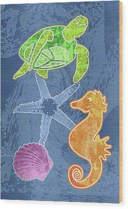 Sea Life Wood Print by Mary Ogle