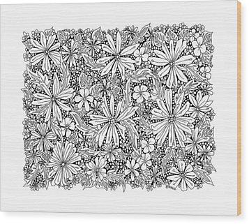Sea Of Flowers And Seeds At Night Horizontal Wood Print by Tamara Kulish