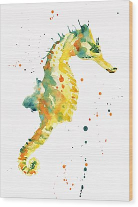 Seahorse  - Yellow Seahorse Wood Print by Alison Fennell