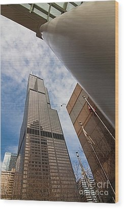 Sears Tower From Across The Street Wood Print by Sven Brogren