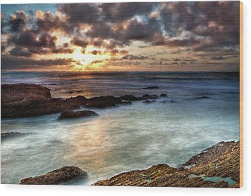 Seascape Paintings For Sale - Ocean Breath Wood Print by Frances Leigh