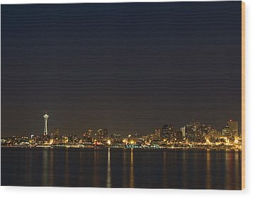 Seattle Skyline At Night Wood Print by Stacey Lynn Payne
