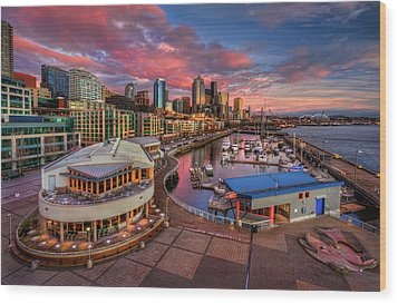 Seattle Waterfront At Sunset Wood Print by Photo by David R irons Jr