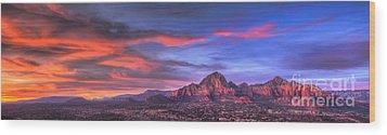 Sedona Arizona At Sunset Wood Print by Eddie Yerkish