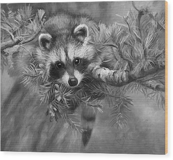 Seeking Mischief - Black And White Wood Print by Lucie Bilodeau