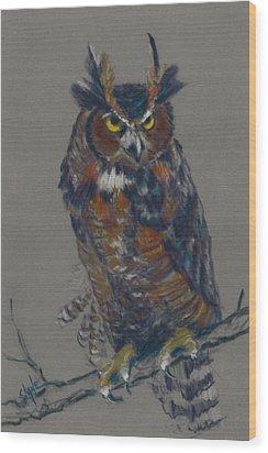 Seeking Owl  Wood Print by Christine Camp