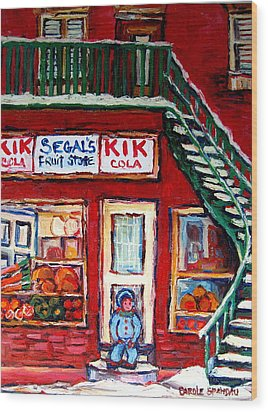 Segal's Market St.lawrence Boulevard Montreal Wood Print by Carole Spandau