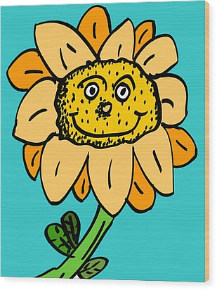 Senny The Sunflower Wood Print by Jera Sky