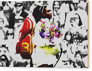 Serena Williams 2f Wood Print by Brian Reaves