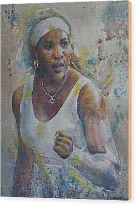 Serena Williams - Portrait 5 Wood Print by Baresh Kebar - Kibar