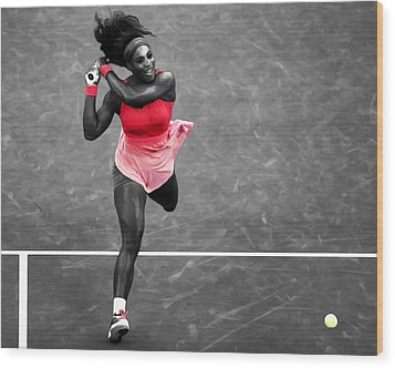 Serena Williams Strong Return Wood Print by Brian Reaves