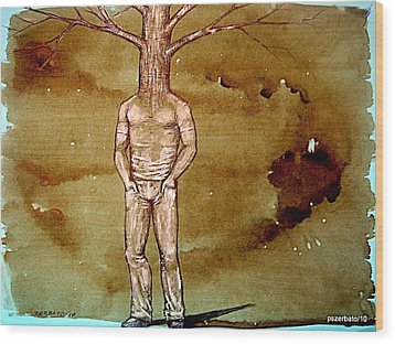 Series Trees Drought Wood Print by Paulo Zerbato