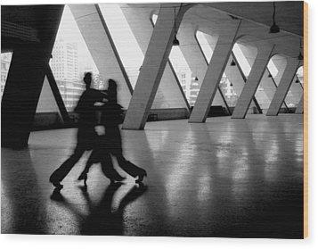 Shadow Tango Wood Print by Lian Wang
