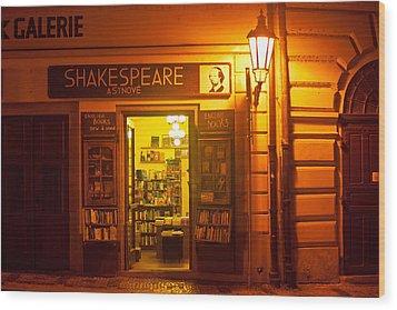Shakespeares' Bookstore-prague Wood Print by John Galbo