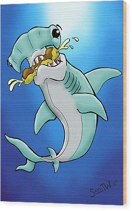 Sharks That Eat Cake Hammerhead Wood Print by Sean Williamson