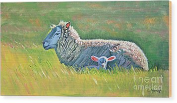 Sheep At Red Hill Farms Wood Print by Colleen Proppe