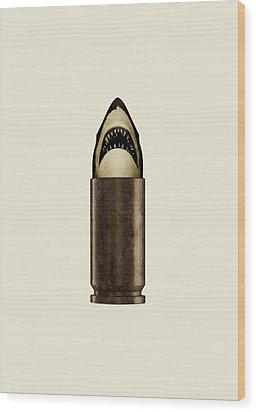 Shell Shark Wood Print by Nicholas Ely