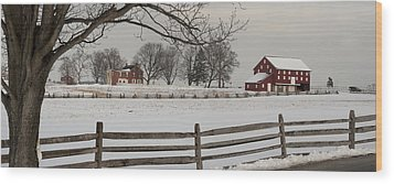 Sherfy Farm In The Snow At Gettysburg Wood Print by Greg Dale