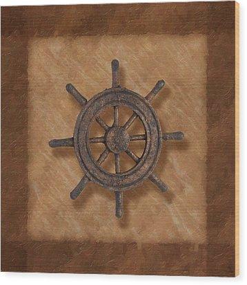 Ship's Wheel Wood Print by Tom Mc Nemar