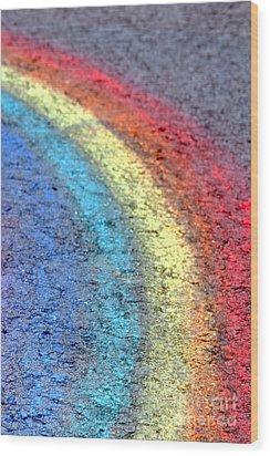 Sidewalk Rainbow  Wood Print by Olivier Le Queinec