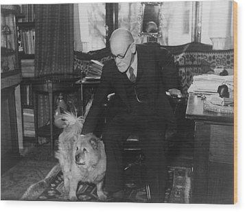 Sigmund Freud 1856-1939, Seated Wood Print by Everett