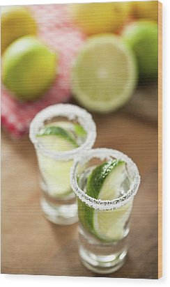 Silver Tequila, Limes And Salt Wood Print by by Marion C. Haßold, www.marionhassold.com
