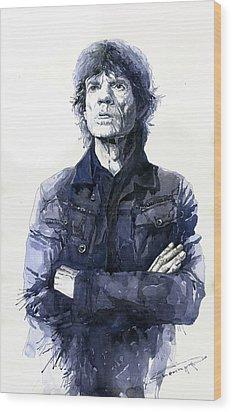 Sir Mick Jagger Wood Print by Yuriy Shevchuk