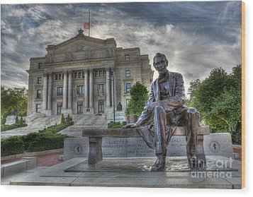 Sit With Me - Seated Lincoln Memorial By Gutzon Borglum  Wood Print by Lee Dos Santos