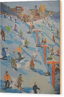 Ski Hill Wood Print by Rodger Ellingson