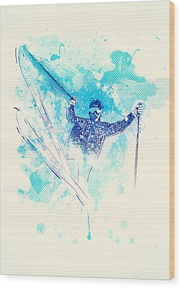 Skiing Down The Hill Wood Print by Bekare Creative