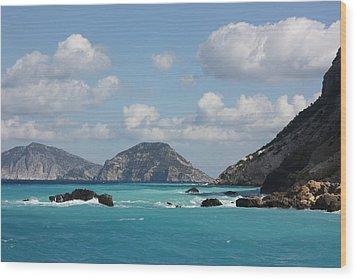 Skopelos Blue Wood Print by Yvonne Ayoub
