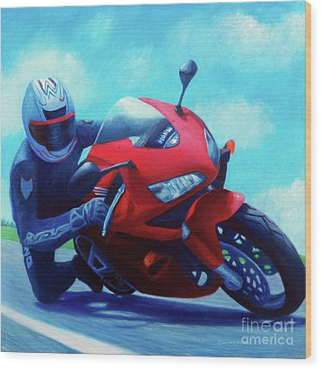 Sky Pilot - Honda Cbr600 Wood Print by Brian  Commerford