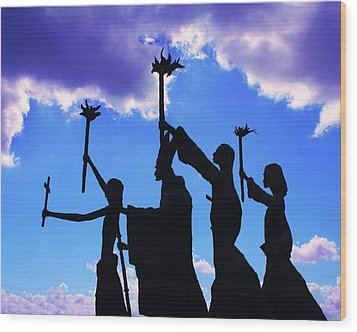 Sky Statues Wood Print by Perry Webster