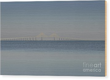 Skyway Bridge In Blue Wood Print by David Lee Thompson