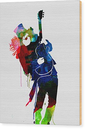 Slash Watercolor Wood Print by Naxart Studio