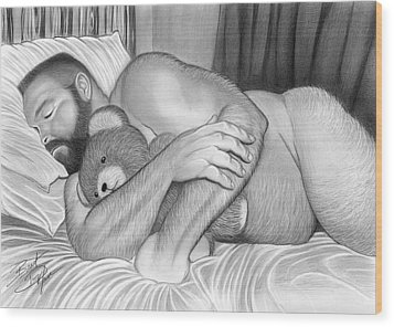 Sleepy Time For Teddy Wood Print by Brent  Marr