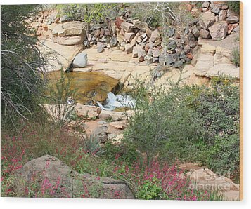 Slide Rock With Pink Wildflowers Wood Print by Carol Groenen