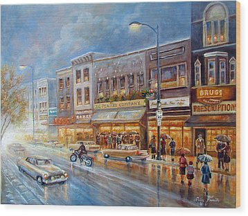 Small Town On A Rainy Day In 1960 Wood Print by Regina Femrite