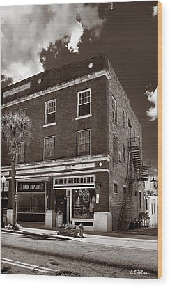 Small Town Shops - Sepia Wood Print by Christopher Holmes