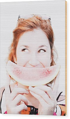 Smiling Summer Snack Wood Print by Jorgo Photography - Wall Art Gallery